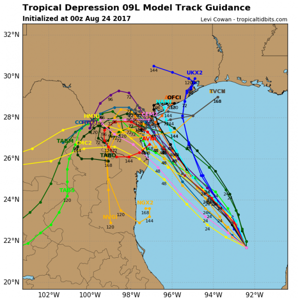 Computer model forecasts for the track of Tropical Depression Harvey. Image provided by Tropical Tidbits.