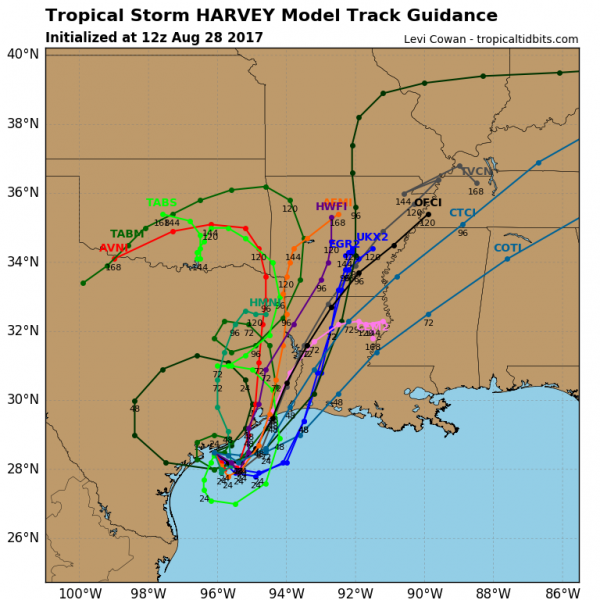 Computer model forecasts for the track of Tropical Storm Harvey. Image provided by Tropical Tidbits.