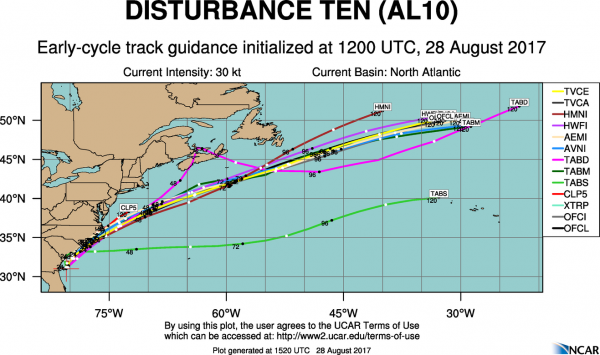 Computer model forecast for the track of Potential Tropical Cyclone 10. Image provided by the National Center for Atmospheric Research.