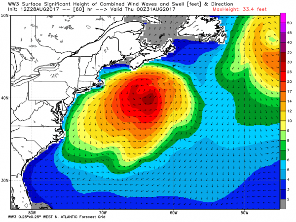 The system will generate rough seas across the Northwest Atlantic by midweek. Image provided by WeatherBell.