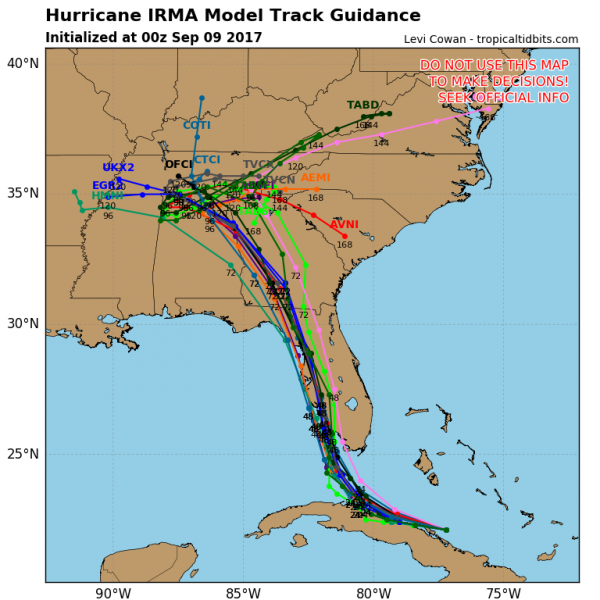 Computer model forecasts for the track of Irma. Image provided by Tropical Tidbits.