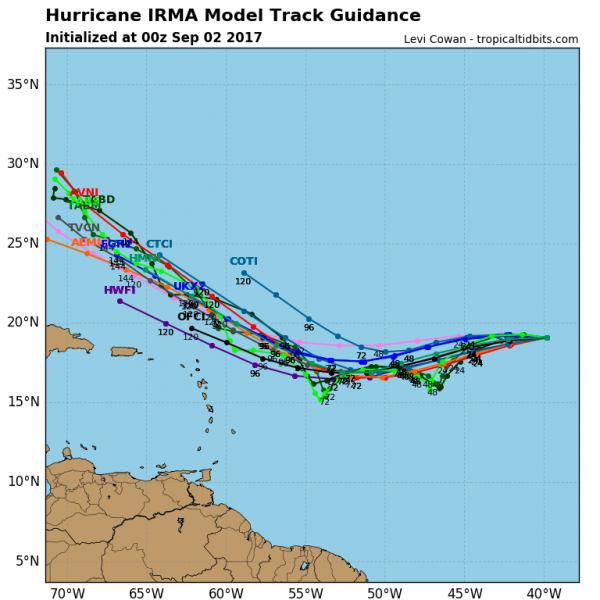 Model forecast tracks for Hurricane Irma. Image provided by Tropical Tidbits.