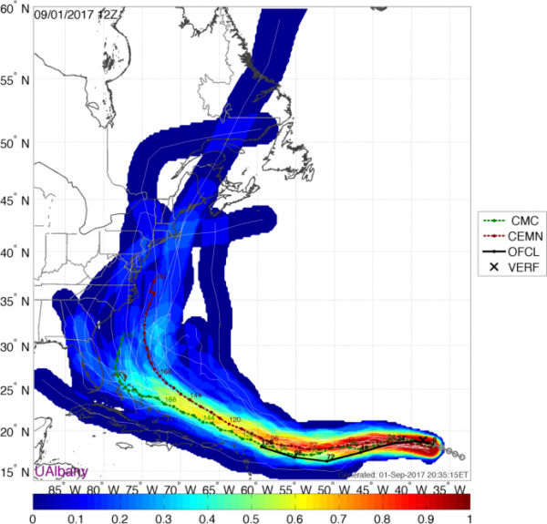 Track forecasts from the various members of the CMC Ensemble. Image provided by the University at Albany