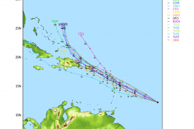 Model forecasts for the track of Tropical Storm Maria. Image provided by the University of Wisconsin-Madison.