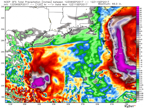 Rainfall forecast for the next 5 days from the GFS model. Image provided by WeatherBell.