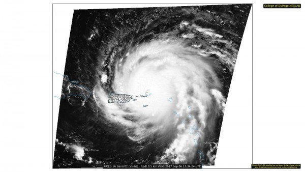 Visible Satellite photo of Hurricane Irma early Wednesday afternoon. Image provided by the College of DuPage.