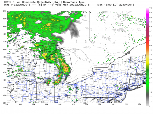 Model Simulation of what the radar will look like this afternoon. (Image from Weatherbell)