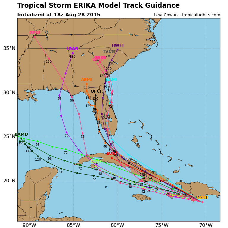 Computer model forecasts for Tropical Storm Erika's future track.