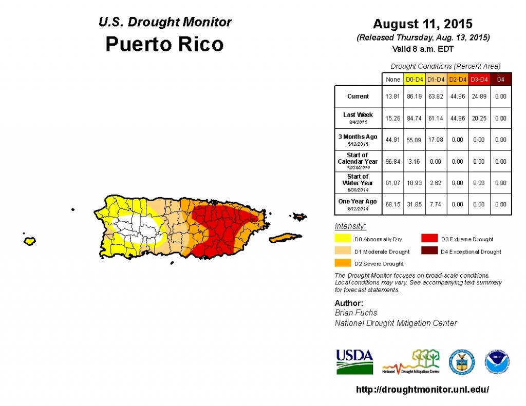 Current drought conditions across Puerto Rico and the US Virgin Islands.