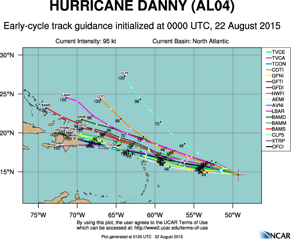 Computer model forecasts for the track of Hurricane Danny.