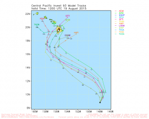 Model forecast tracks for the tropical disturbance southeast of Hawaii.