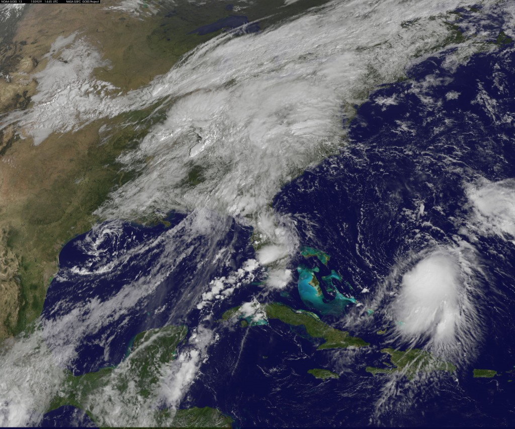 Storm shown in photo taken by NOAA satellite Sept. 29, 2015, east of Bahamas.