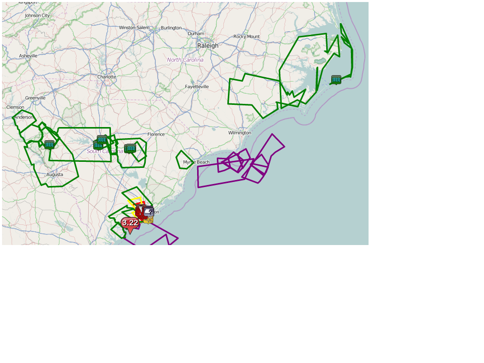 Severe warnings and storm reports. Red (green) polygons and squares are the tornado (flood) warnings and reports.