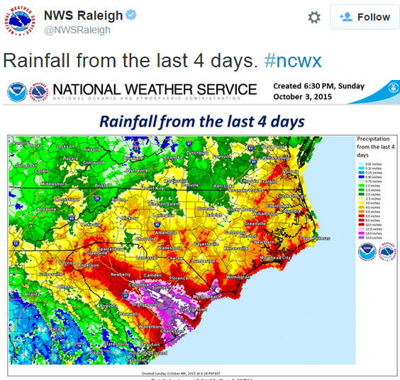 Rainfall totals in the Southeast. Many areas saw totals normally seen  at or over ever 200 years.
