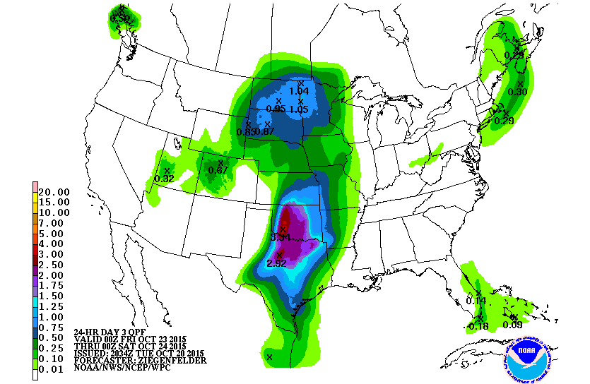 Thursday through Friday rainfall forecast.