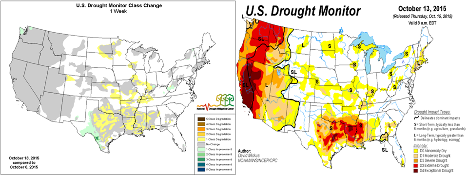 Recent drought observations and weekly change.