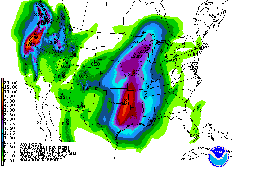 48 hour rainfall forecast. Note the higher amounts in northeast, Texas and western Oklahoma.Via WPC.