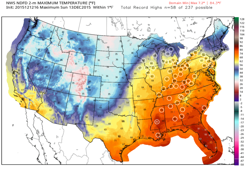 Record high temperatures circled in white especially over the eastern half of the US.