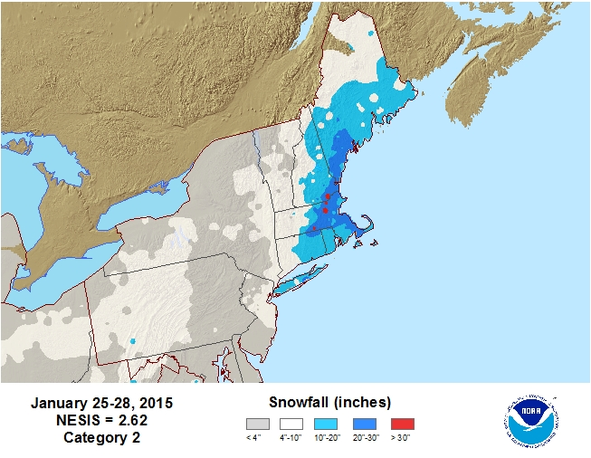 The storm total snowfall via the NESIS scale from January 25 -28, 2015.