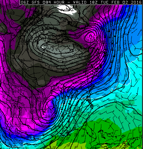 Snapshot of the cold air(north and west of the low) and warm sector (south and east of the low). Notice the stronger winds (barbs with triangles indicating 50+ knot winds) in the area within the packed contours.