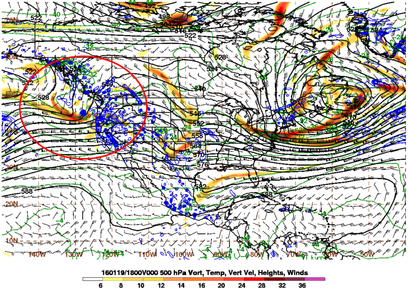 Energy (reds and oranges) over the Eastern Pacific before entering the Western US.