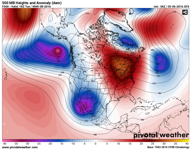 Height anomalies showing the general high and low pressure placements. Low anomalies (blue) indicate low pressure.