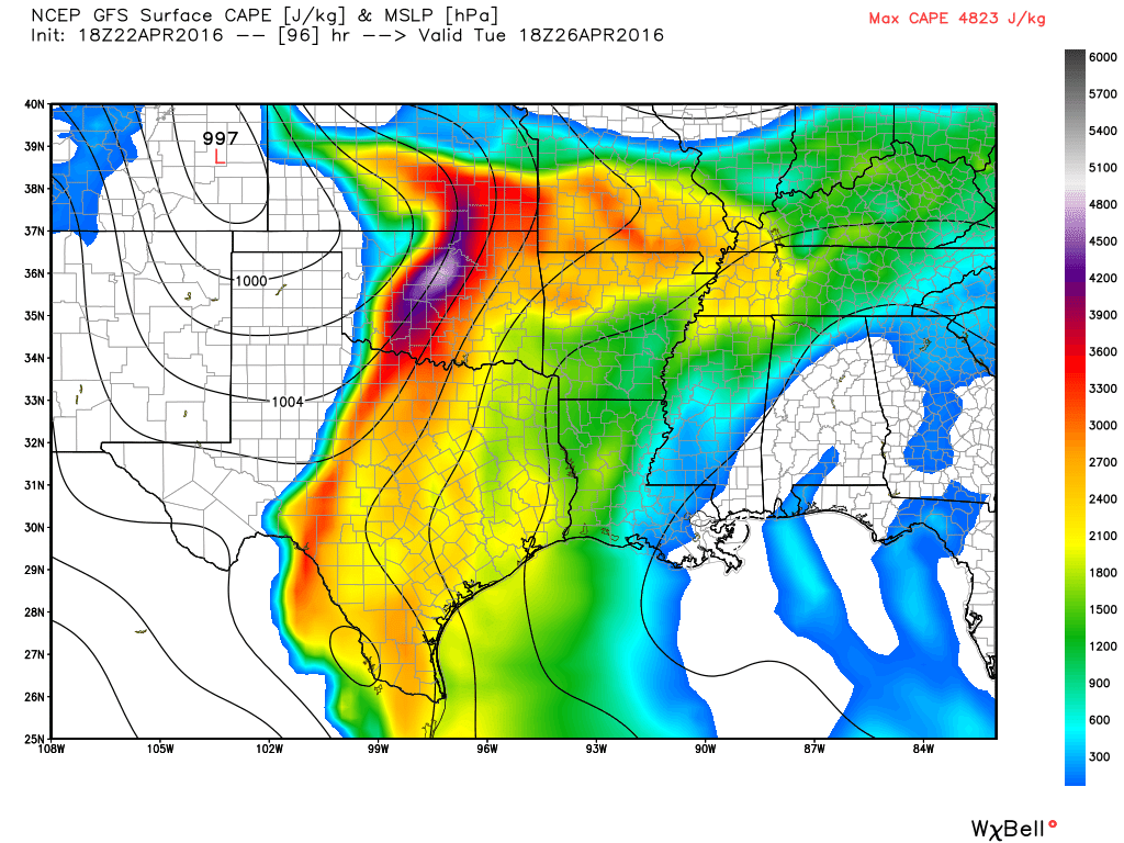 Forecasted CAPE (Convectice Available Potential Energy) for Tuesday evening. Image courtest of WeatherBell.