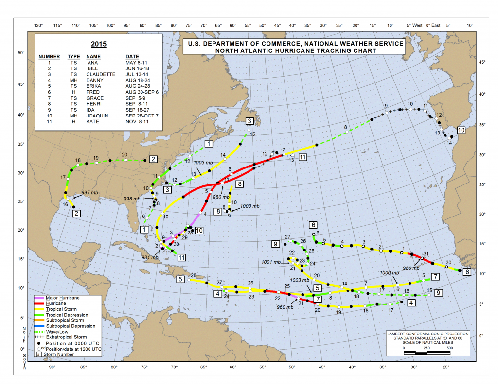 Map showing all tropical systems across the Atlantic Basin from the 2015 Hurricane Season. Image provided by the National Hurricane Center.