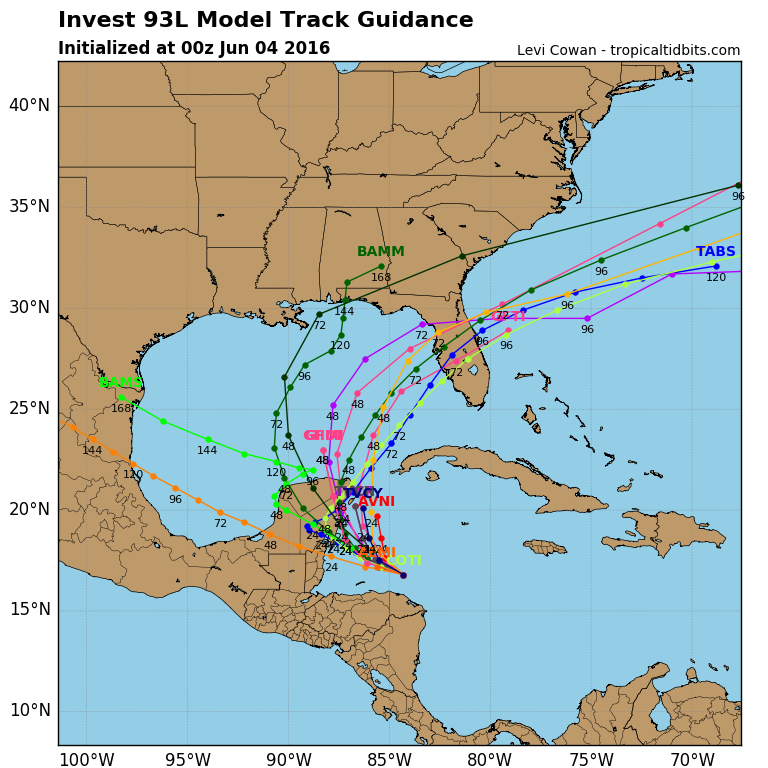 Computer model forecasts for the track of a potential tropical system in the Gulf of Mexico. Image provided by Tropical Tidbits