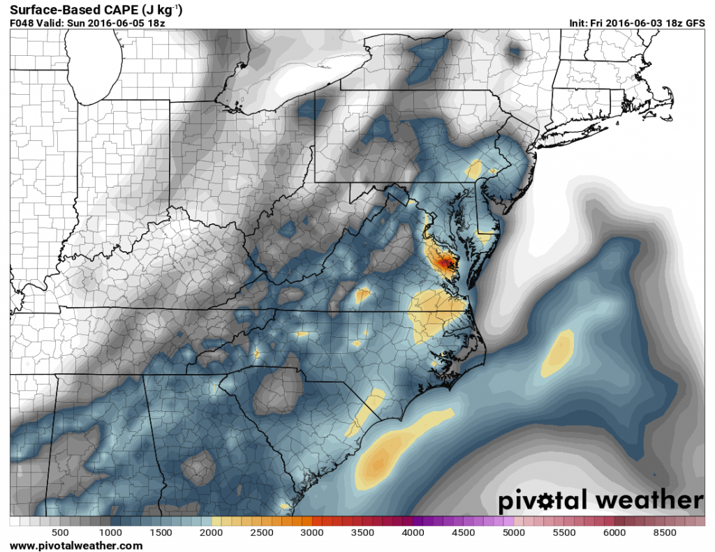 GFS forecast of CAPE values for Sunday afternoon. Image provided by Pivotal Weather