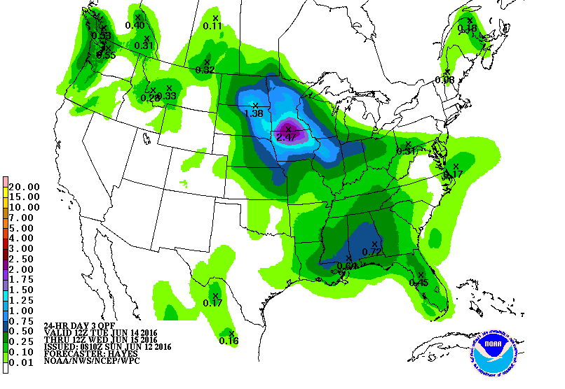 Forecast rainfall totaling 1 to 3 inches. Possibly higher in any thunderstorms from Tuesday morning to Wednesday morning.