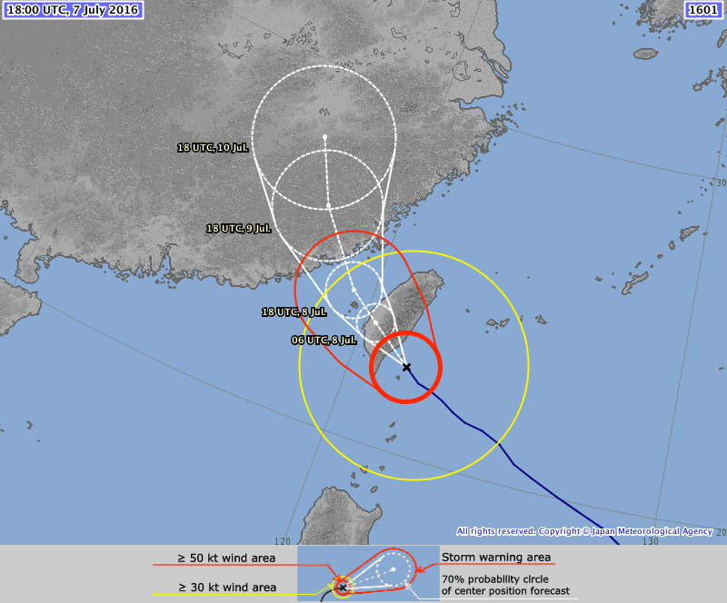 Forecast track for SuperTyphoon 02W (Nepartak). Image provided by the Japanese Meteorological Agency.