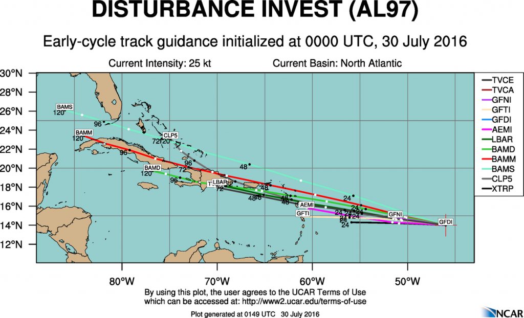 Model forecasts for the track of a tropical disturbance in the Central Atlantic. Image provided by NCAR.