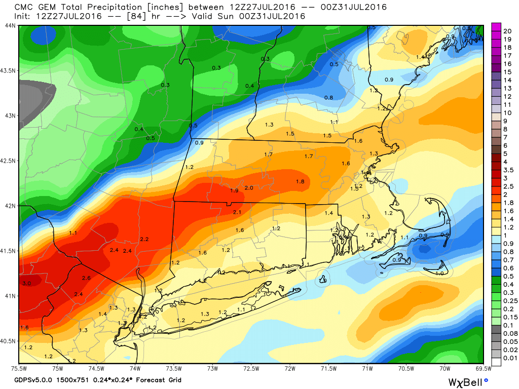 GEM model forecast for total rainfall through Saturday night. Image provided by WeatherBell.