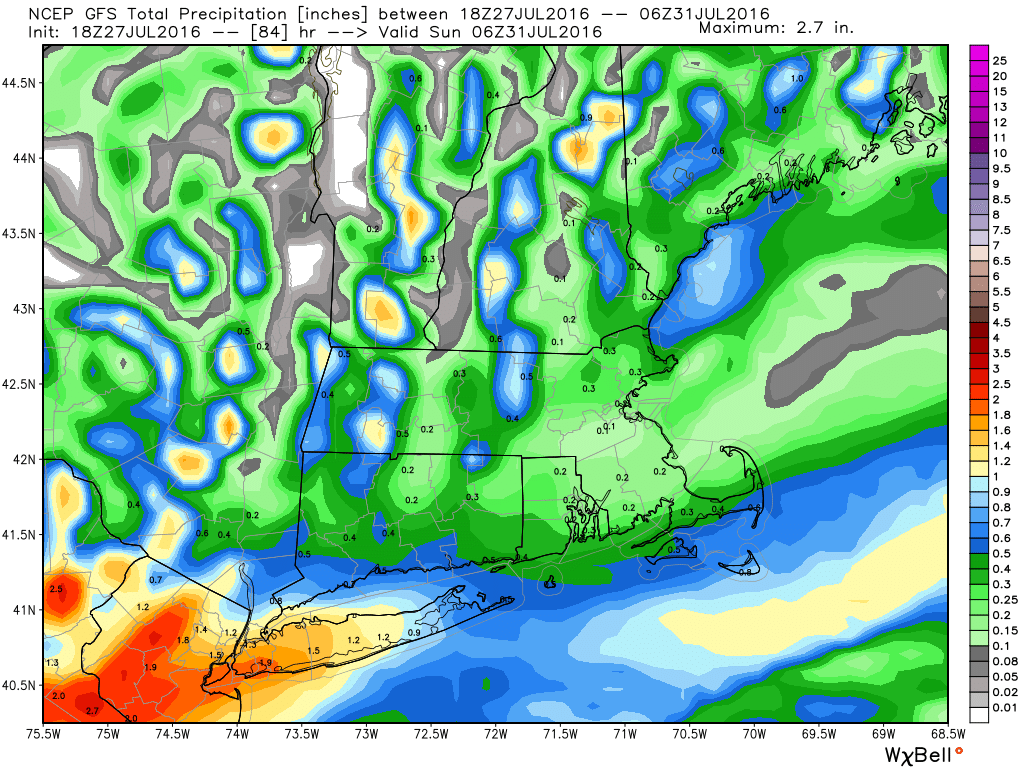 GFS model forecast for total rainfall through Saturday night. Image provided by WeatherBell.