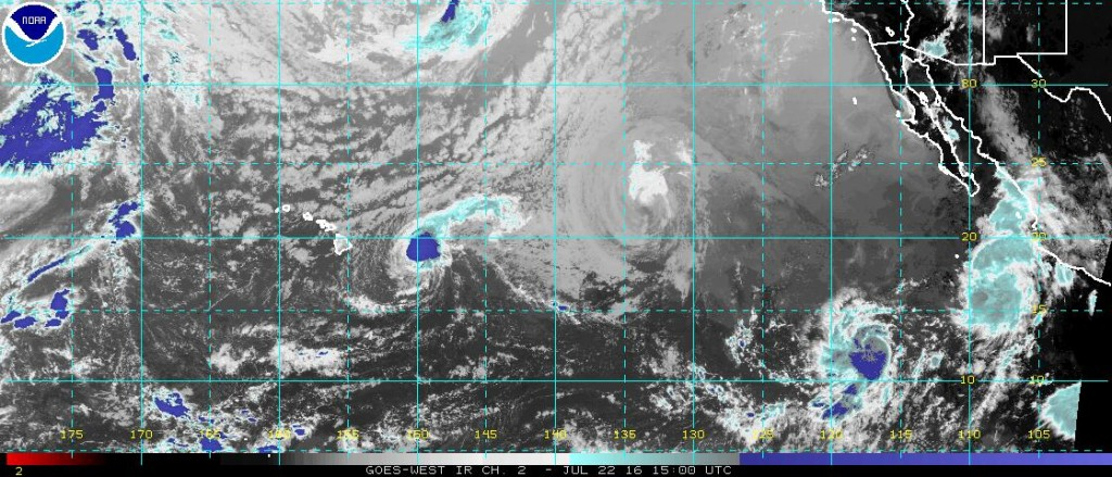 Satellite photo of the Eastern Pacific showing 4 active tropical cyclones (from Left to Right: Darby, Estelle, Georgette, Frank). Image provided by NOAA.