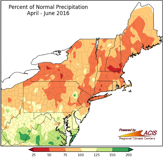 Rainfall since the start of April has been well below normal across the Northeast. Image provided by the Northeast Regional Climate Center.