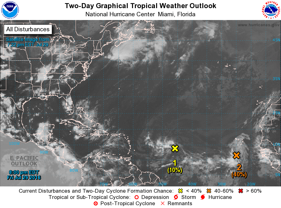 There are two disturbances in the Atlantic that are being monitored for development. Image provided by the National Hurricane Center.