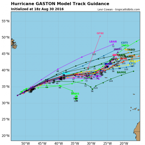 Model forecasts for the track of Hurricane Gaston. Image provided by Tropical Tidbits.