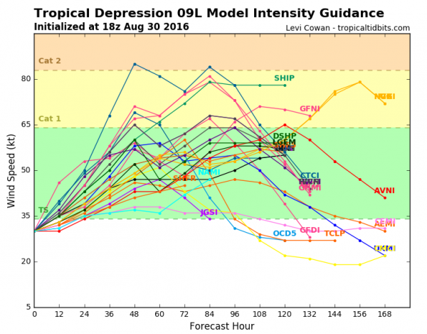 Model forecasts for the intensity of Tropical Depression Nine. Image provided by Tropical Tidbits.