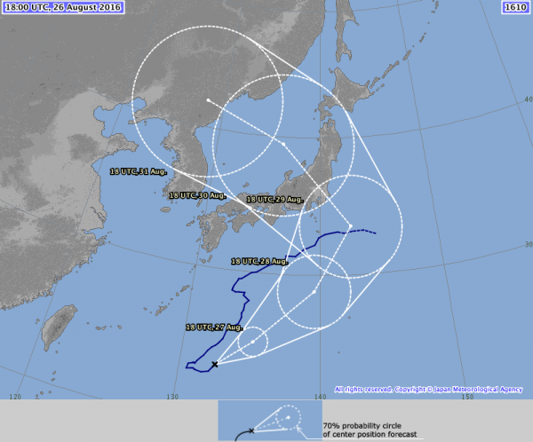 Forecast track for Typhoon 12w (Lionrock). Image provided by the Japan Meteorological Agency.