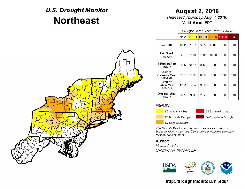 Update from August 2 on drought conditions across the Northeast, Image provided by NOAA.
