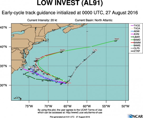 Model forecasts for the track of a disturbance south of Bermuda. Image provided by NCAR.