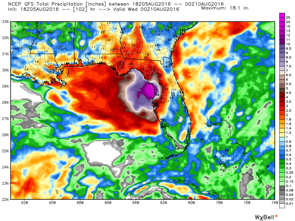 GFS model forecast for rainfall across the Gulf Coast through Tuesday. Image provided by WeatherBell.