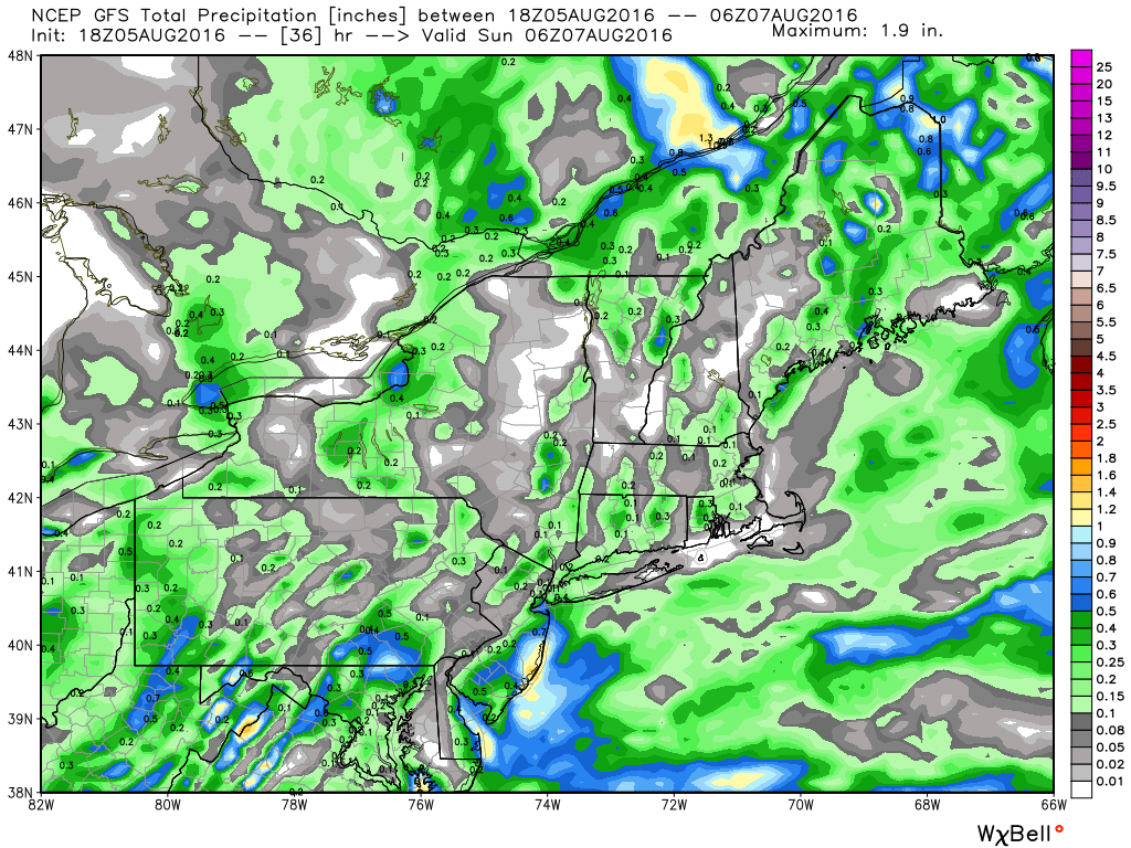 GFS model forecast for rainfall through Saturday night. Image provided by WeatherBell.