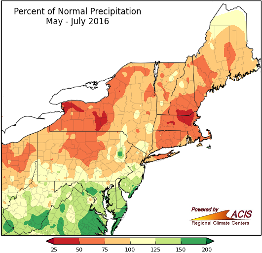 Map shopwing percent of normal rainfall from May 1 through July 31 across the Northeast. Image provided by the Northeast Regional Climate Center