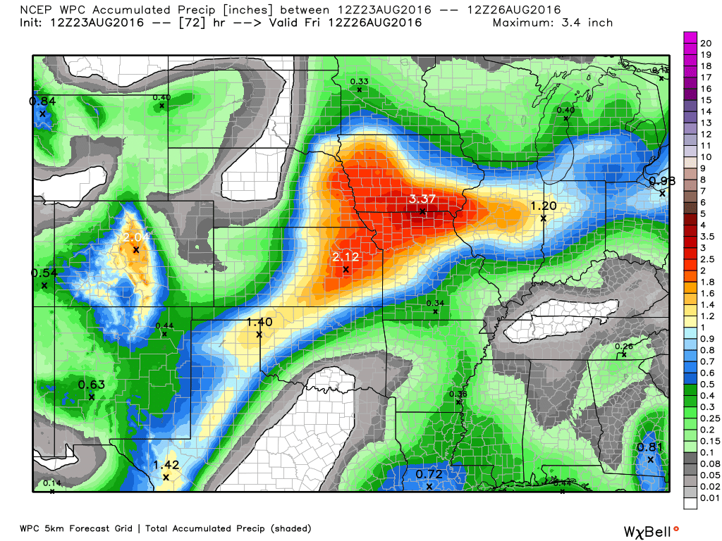 Expected rainfall totals across the Midwest through Friday morning. Image provided by WeatherBell.