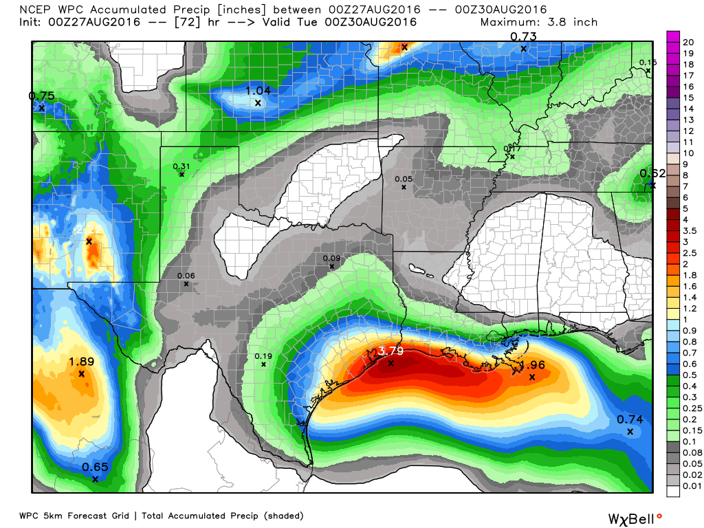 Expected rainfall through Monday evening. Image provided by WeatherBell.