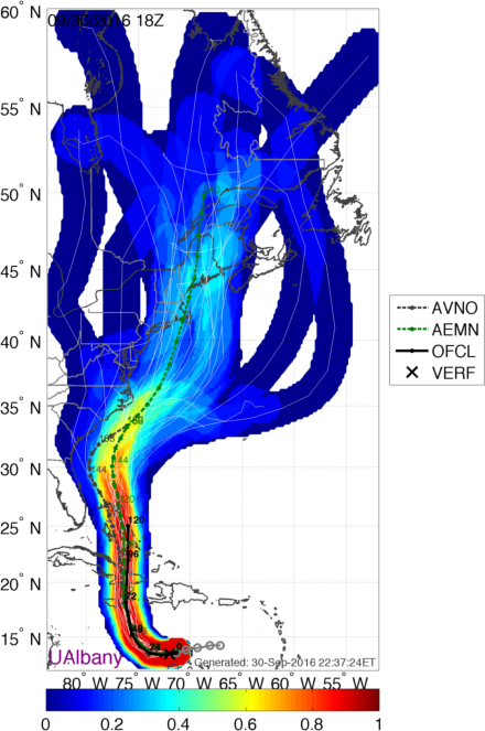 Forecast tracks for Matthew from the GFS Ensemble. Image provided by Brian Tang, University at Albany