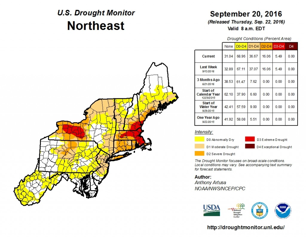 Latest drought update that shows more than two-thirds of the Northeast experiencing some form of drought. Image provided by the National Drought Monitor